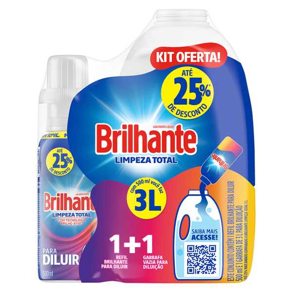 Brilhante Limpeza Total Para Diluir Kit Oferta